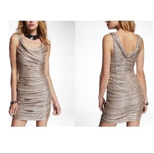 NWT Express Gold / Silver Ruched Bodycon Dress 0